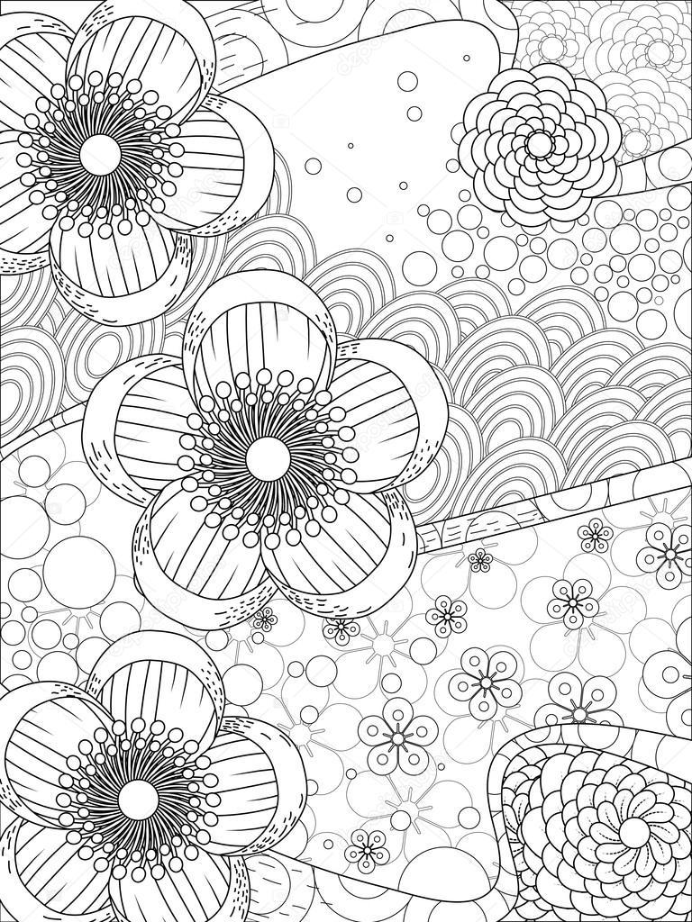 Kiraz çiçeği çiçek Boyama Sayfası Stok Vektör Kchungtw 97928134