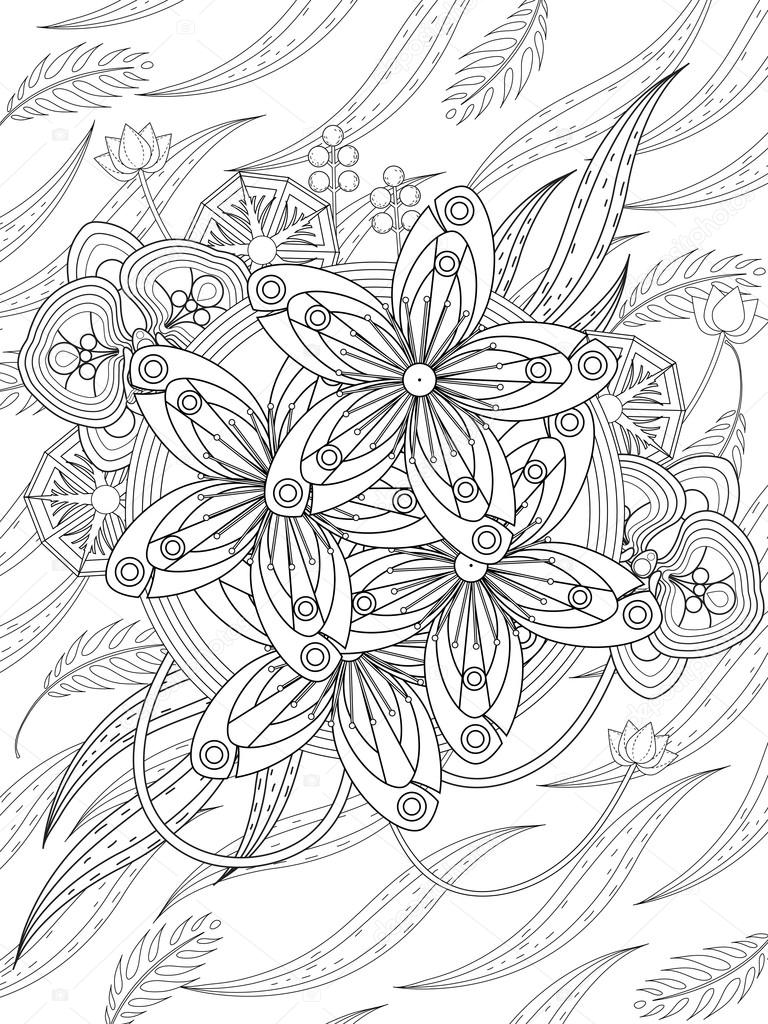 Lovely Floral Coloring Page Stock Vector Kchungtw 97938820