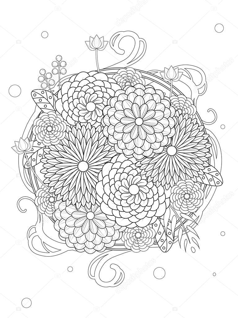 Página para colorear de flores hermoso — Archivo Imágenes ...
