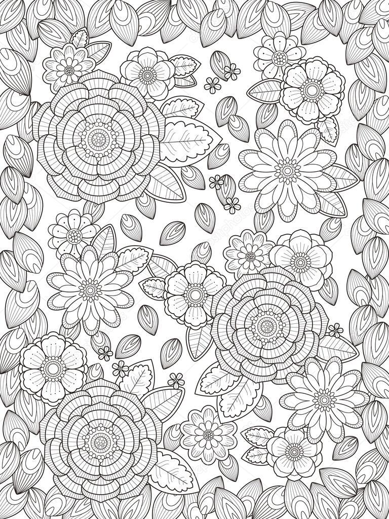 çok Güzel çiçek Boyama Sayfası Stok Vektör Kchungtw 97945560