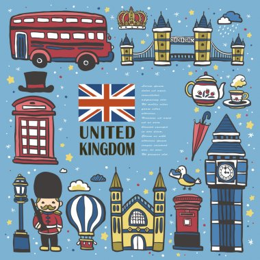 hand drawn United Kingdom travel impression
