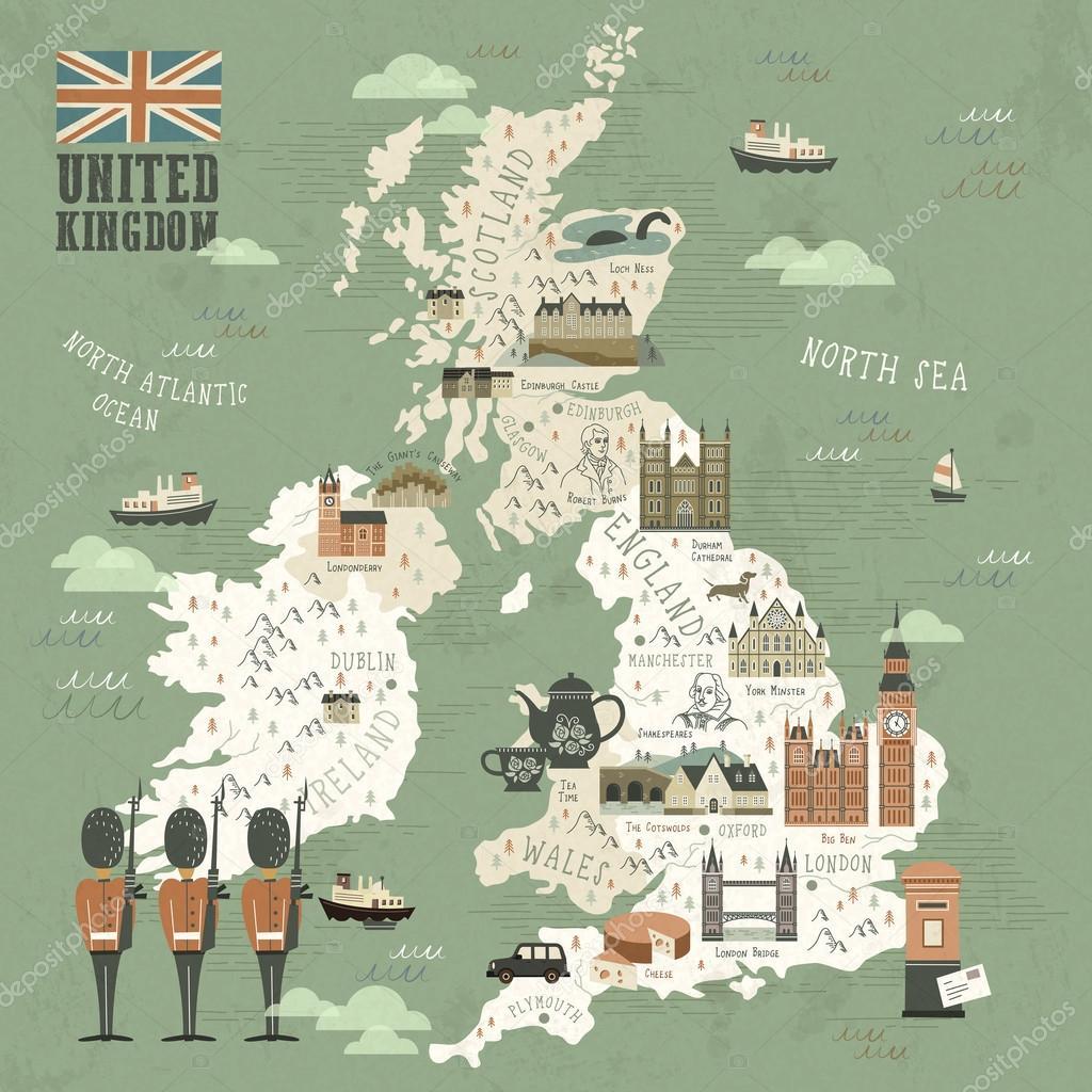 Sehenswürdigkeiten Großbritannien Karte.Deutschland Sehenswürdigkeiten Reisen Anzeigen Stockvektor