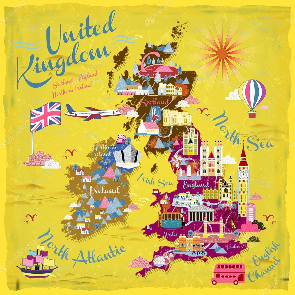 Sehenswürdigkeiten Großbritannien Karte.Großbritannien Reise Karte Stockvektor Kchungtw 99981076