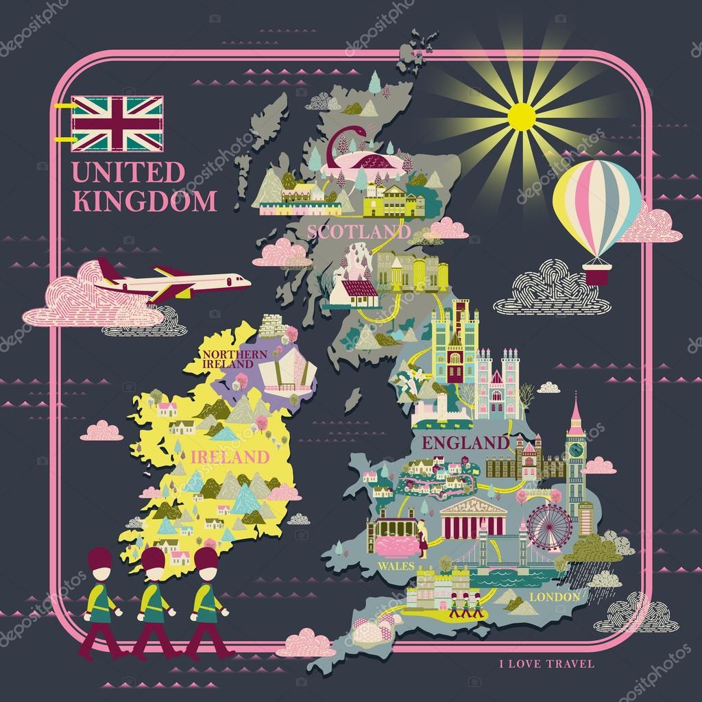 Sehenswürdigkeiten Großbritannien Karte.Großbritannien Reise Karte Stockvektor Kchungtw 99981118