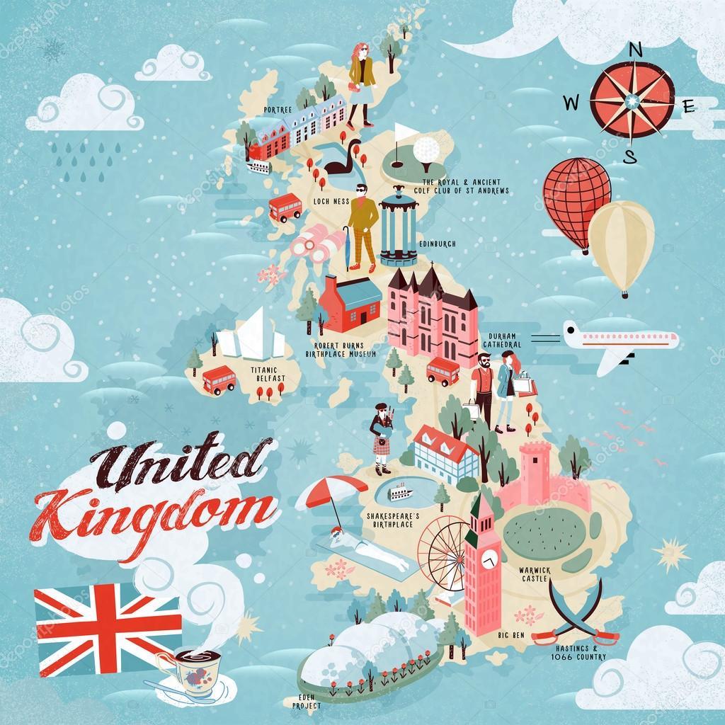 Sehenswürdigkeiten Großbritannien Karte.Großbritannien Reise Karte Stockvektor Kchungtw 99981234