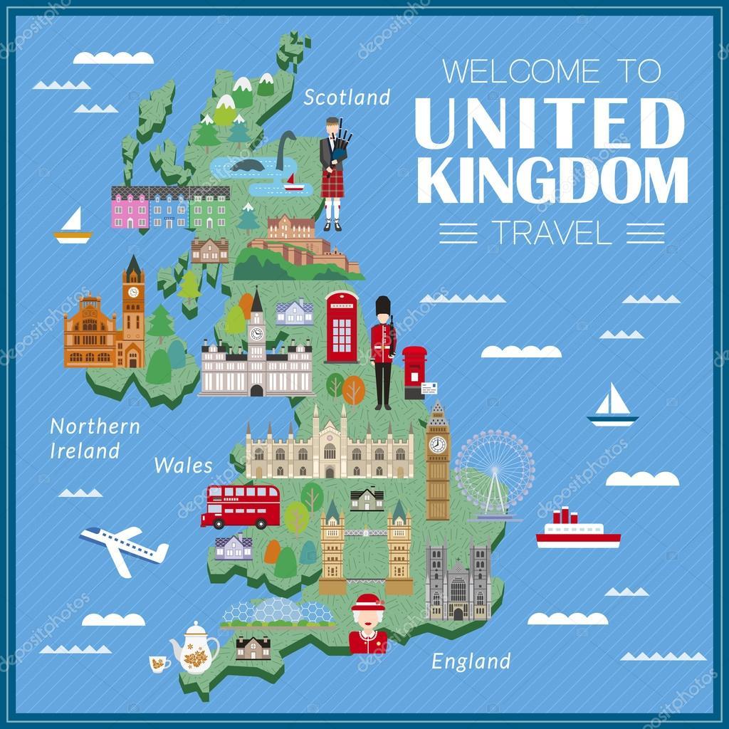 Sehenswürdigkeiten Großbritannien Karte.Großbritannien Reise Karte Stockvektor Kchungtw 99981460