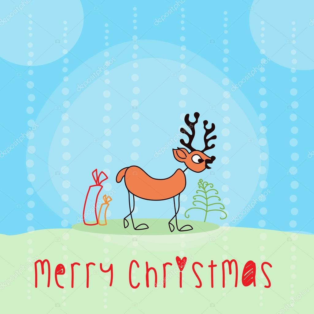Frohe Weihnachten-Nachricht-Poster mit gegliederten Rentier ...