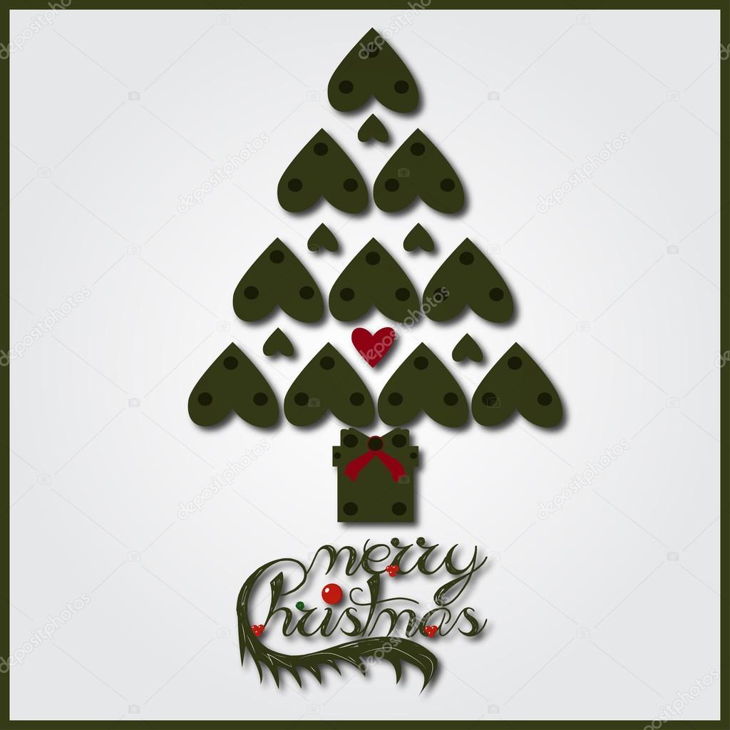 Árbol de Navidad con el corazón en forma de hojas en color verde ...