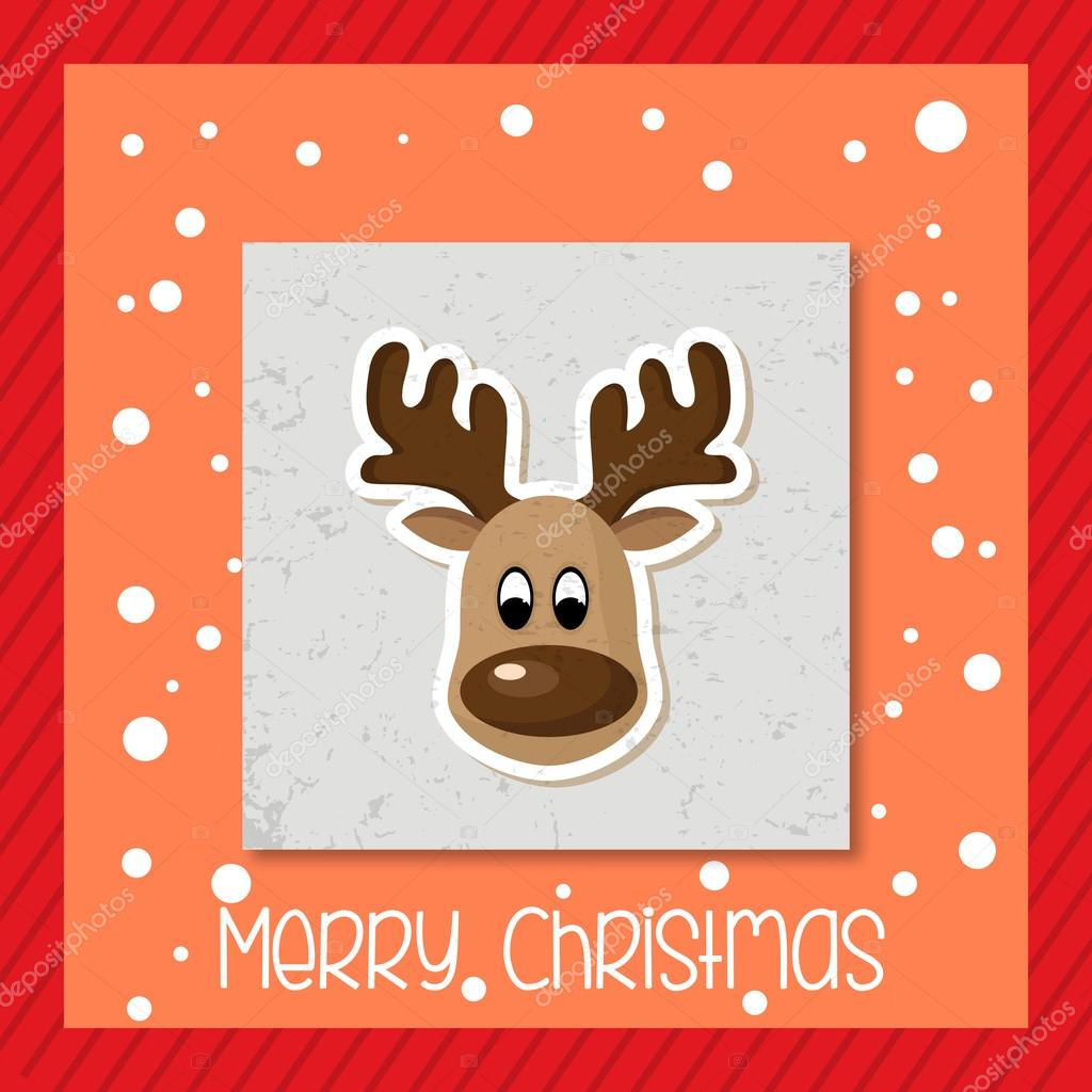 Dibujos Dibujo De Reno De Navidad A Color Feliz Tarjeta De