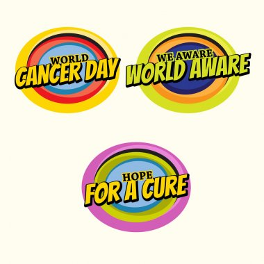 Set of 3 multicolor Cancer Awareness stickers with message