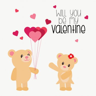 Pair of Teddy bear holding heart shaped balloons