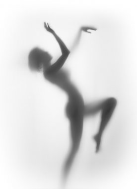 Silhouette of a beautiful, sexy, pretty woman body, dancing.