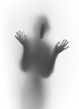 Scary shouting face and body silhouette with hands