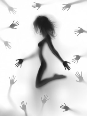 Sexy woman body silhouette with many hands around