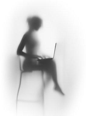 """Картина, постер, плакат, фотообои """"силуэт красивой, стройной женщины с ноутбуком и стулом """", артикул 74254165"""
