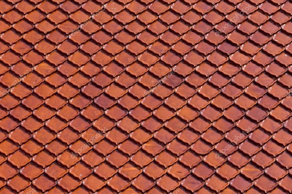 Clay Roof Tiles Of Thai Temple Stock Photo