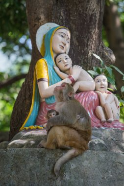 Macaque monkey with a baby next to a statue of the Madonna and Children in Rishikesh, India