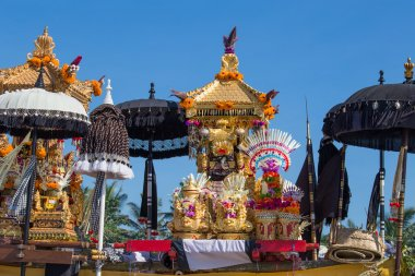 Traditional Balinese ritual altar during celebrate Balinese New Year and the arrival of spring on the beach Ketewel. Bali, Indonesia