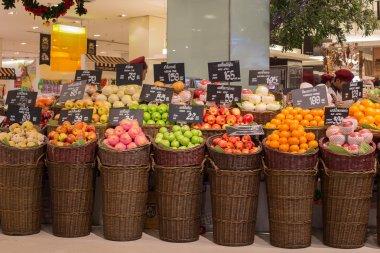 Selection fruits in a supermarket Siam Paragon in Bangkok, Thailand.