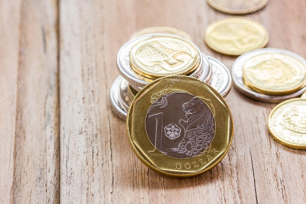 Singapur Dollar Münzen Hautnah Stockfoto Rutchapong 105357546