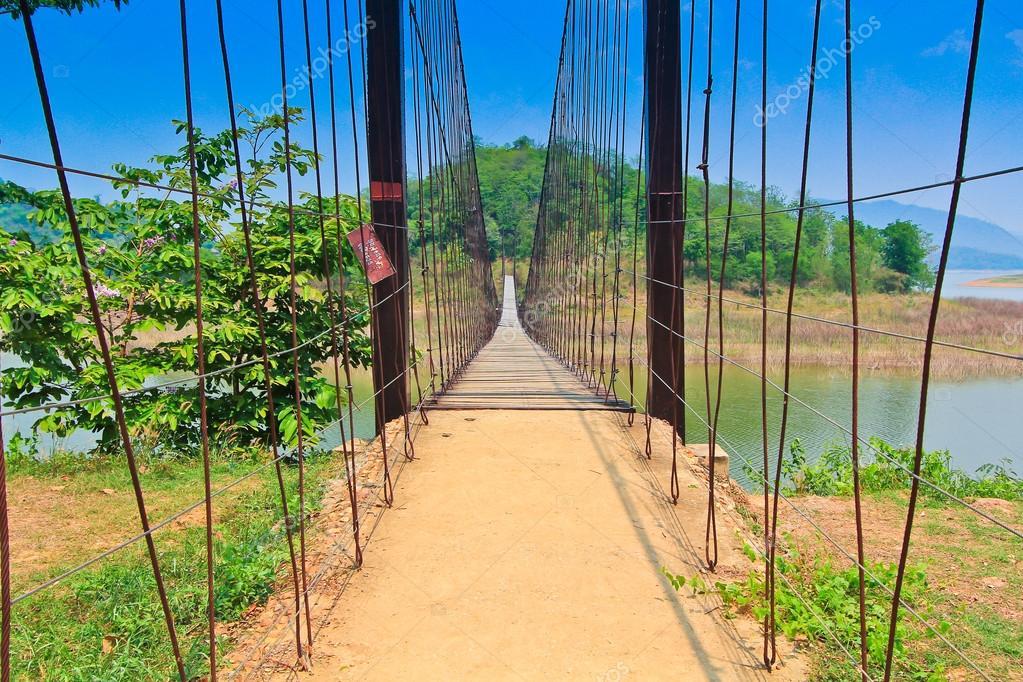 Rope wooden bridge