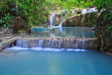 Waterfall and blue stream in forest Kanjanaburi