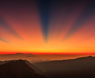 Morning sun at Mountain in Bromo, Indonesia stock vector