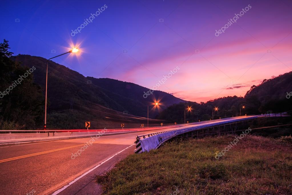 Twilight sunset over road