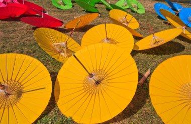 Background colorful asia umbrella's