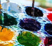 Fotografie Alte Lacke Künstler Pinsel Farben und Pinsel