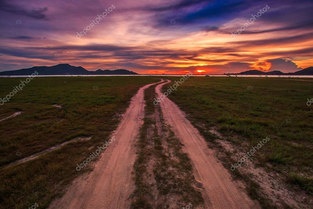 Sunset over road in Thailand