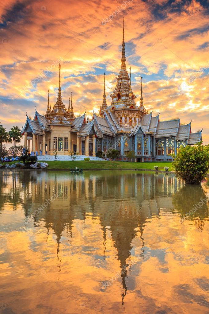 Wat thai at sunset in  Thailand