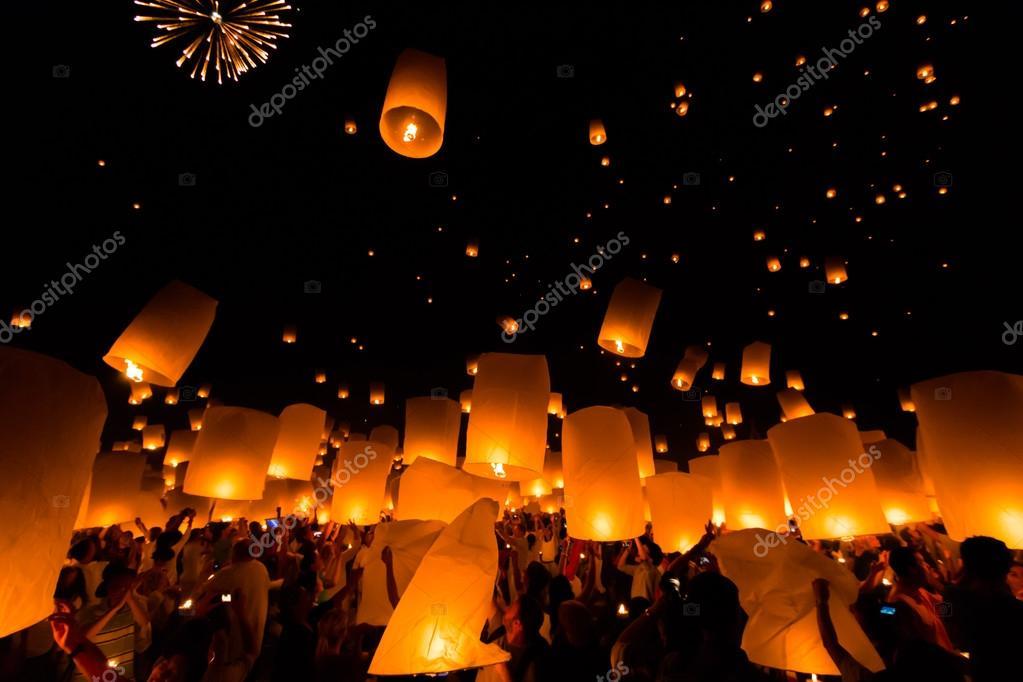 Floating lantern at Chiang Mai Province