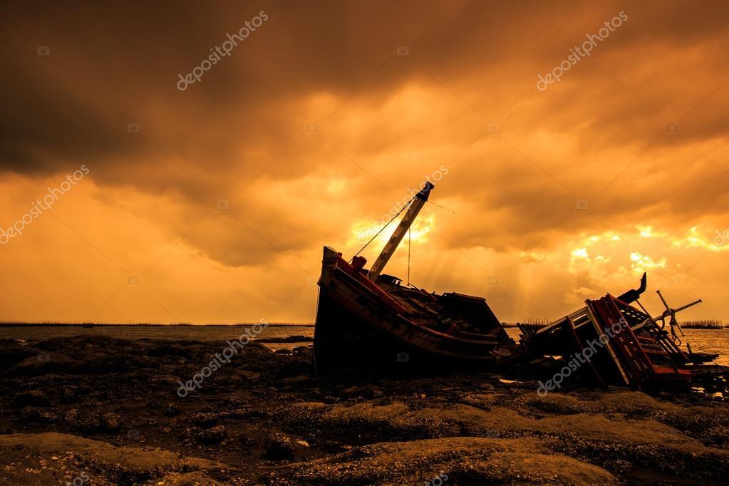 Landscape shipwreck  in  Thailand