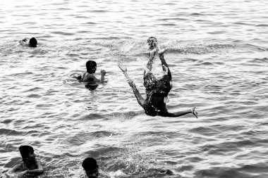 Myanmar children playing in water