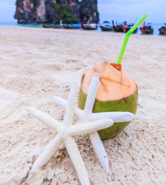 Coconut drink with starfish