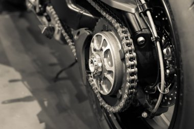 Motorcycle chains close up