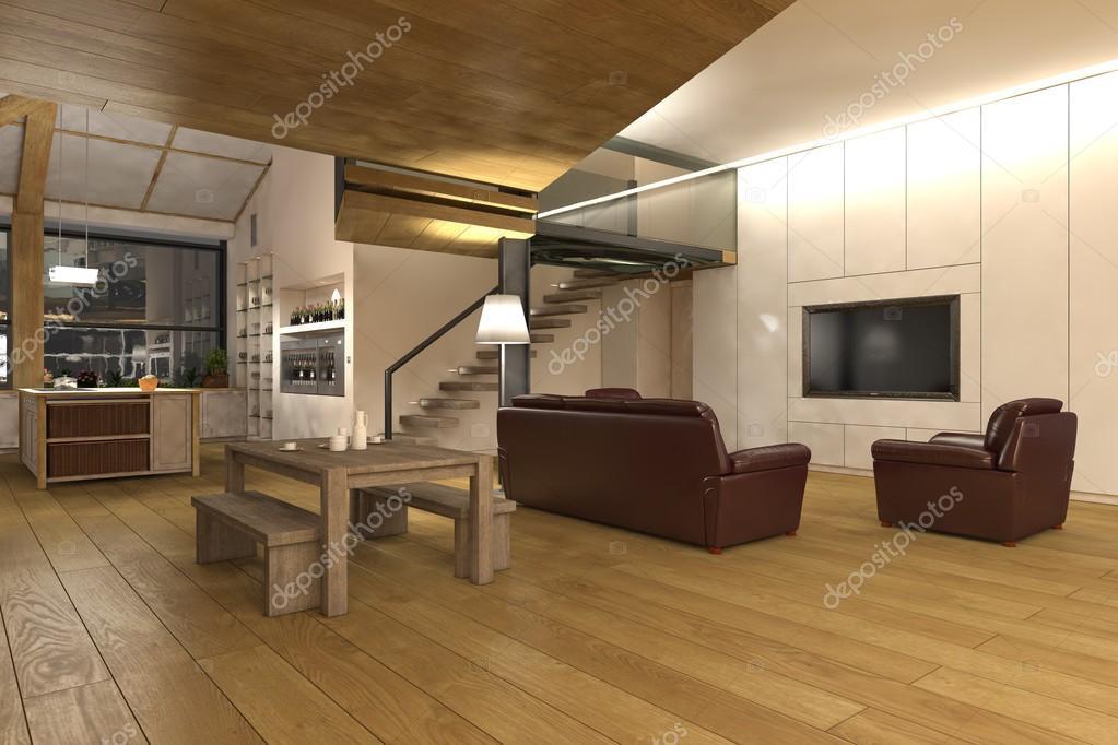 Keuken Grote Open : Grote open plan woonkamer keuken u stockfoto weissdesign