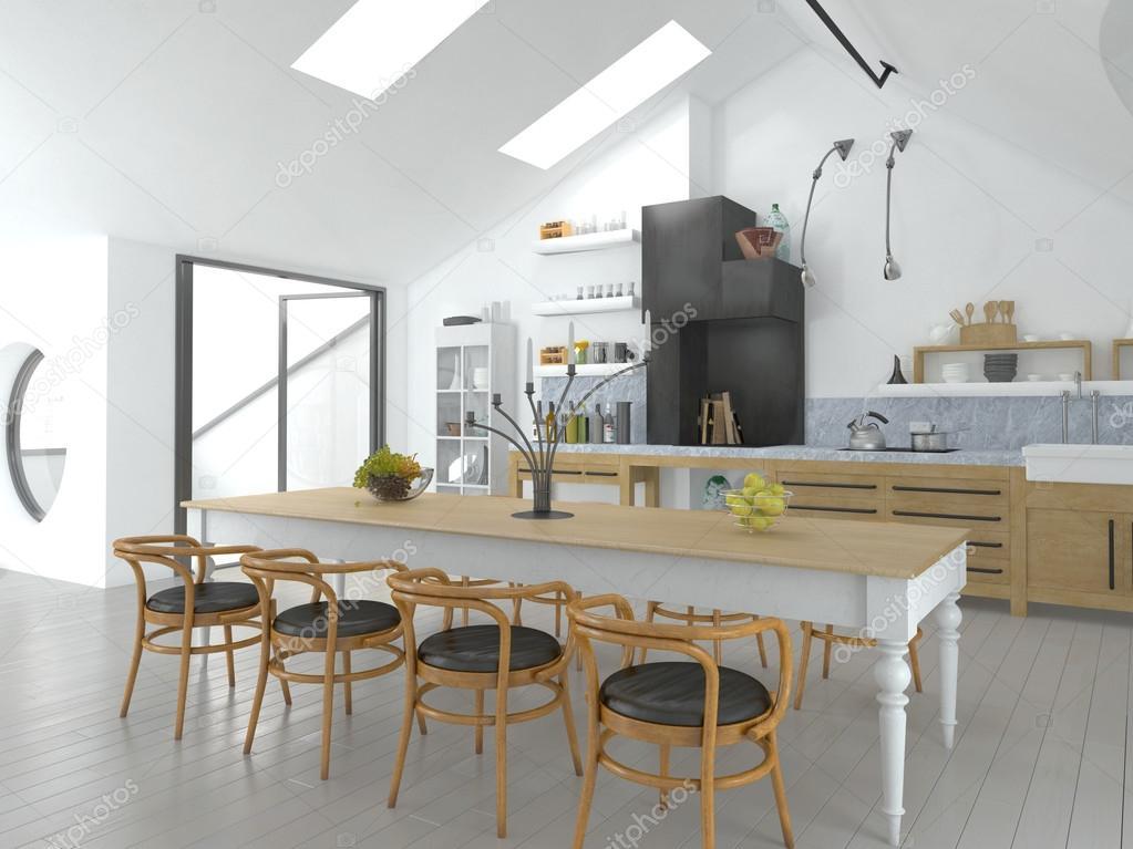 Heldere open concept keuken en eethoek u stockfoto weissdesign