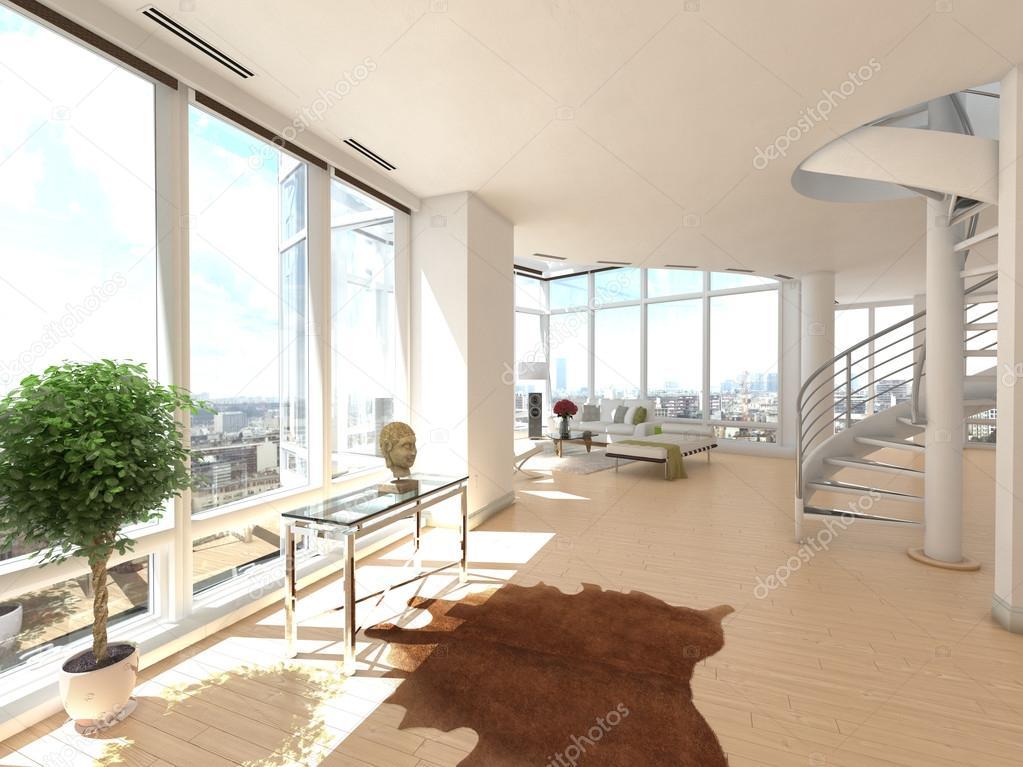 Interior of Bright Open Concept Apartment — Stock Photo ...