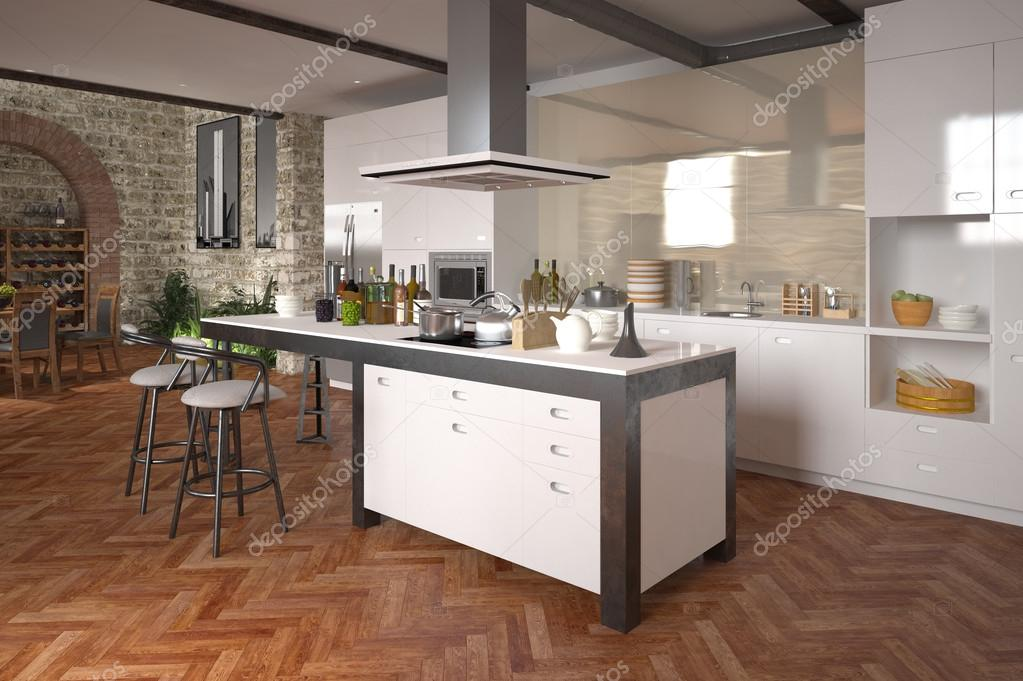 Moderne Open Keukens : Moderne luxe open keuken u stockfoto weissdesign