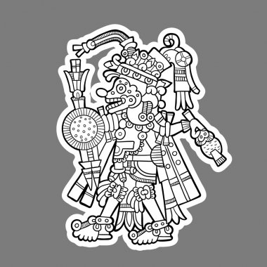 Person. Black and white image of the Maya. Maya designs. Maya design elements.