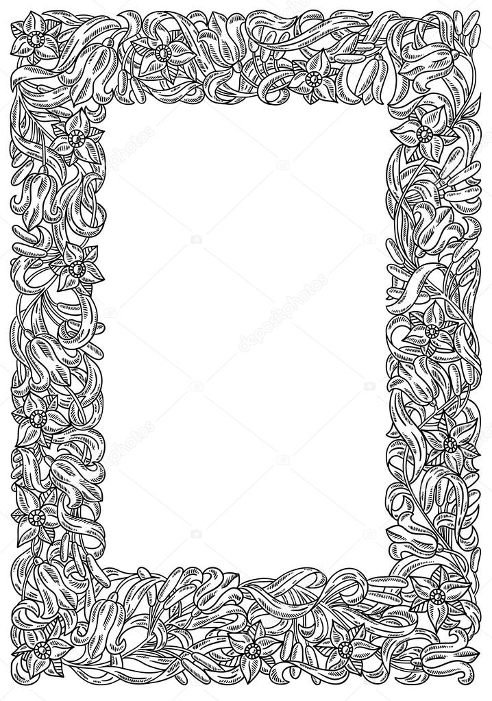 Retro flower frame. Heraldic ornament. Page\'s tamplate — Stock ...