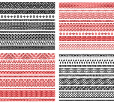 Set of seamless traditional national embroidered patterns
