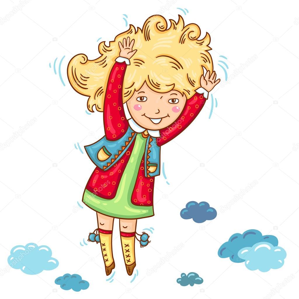Hat Vector Illustration Happy Girl Auf Farbigen Hintergrund Hand Gezeichnet Kinder Springen