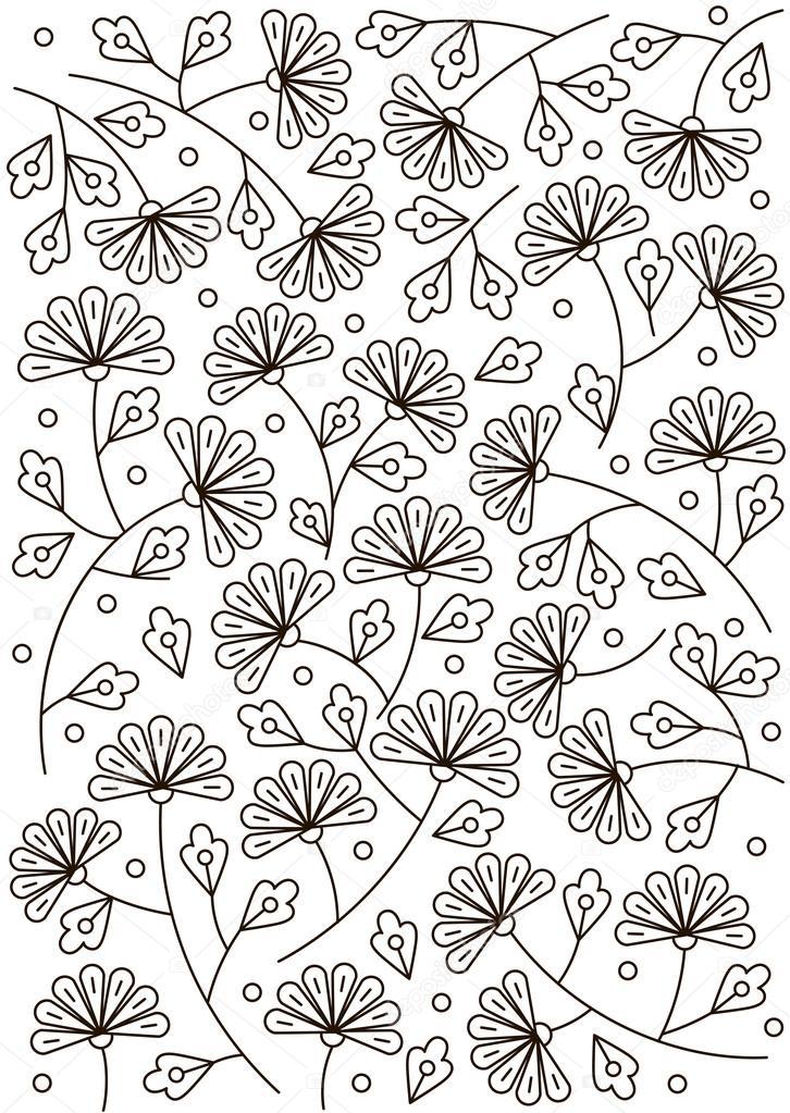 Line doodle flower. Background for card or textile. Black and white illustration.
