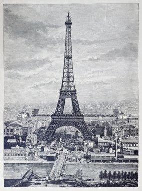 Detailed reprography of a vintage engraved illustration from Eiffel Tower