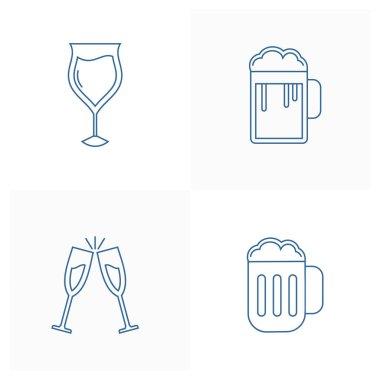 Set of Beer icon design vector template, Party supplies design concept, Icon symbol, Illustration icon