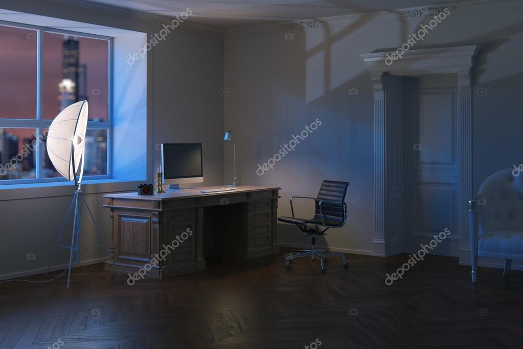 Ufficio Moderno Di Lusso : Ufficio moderno di lusso armadio in tempo di notte d render