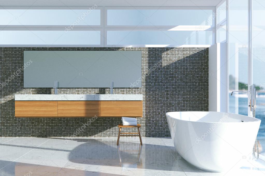 Minimalistische stijl badkamer interieur met panoramisch raam. 3d